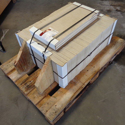 Image of stair treads packed on a pallet and ready for shipment