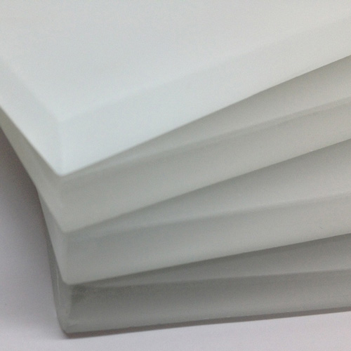 Image of stacked glass bullnose tile.