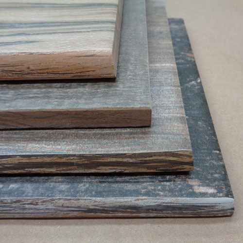 Image of stacked wood look tiles featuring a wood look glazing technique