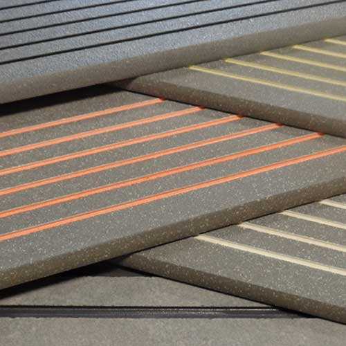 Image of Stair Treads with safety glaze colors in the anti-slip grooves