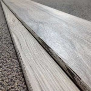 Image of wood-look glazed bullnose pieces