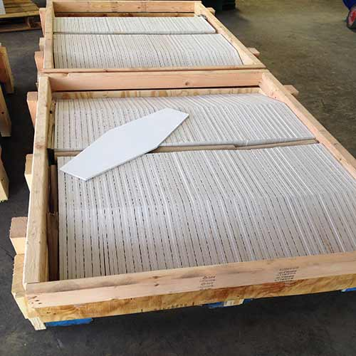 Image of Hexagon shaped tiles packed for shipment
