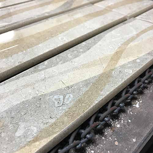 Image of wave tile with bullnose edge on the roller kiln