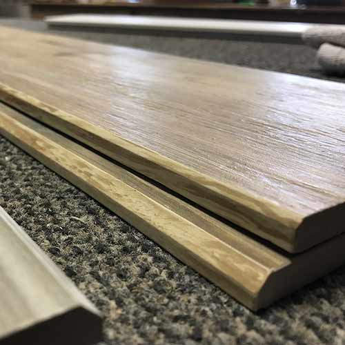 Image of bevel edge plank with wood look glazing